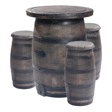 Barrel Bar Table and 3 Stools