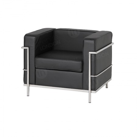 https://www.onlinefurniturehire.com/1 Seater Corbusier Sofa - Black