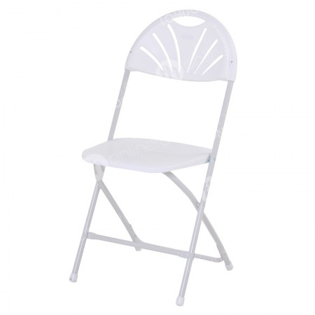 https://www.onlinefurniturehire.com/White Folding Fan Back Chair