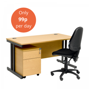 Desk, Pedestal & Chair - Package A