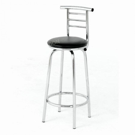 Ruby Leather And Chrome Stool