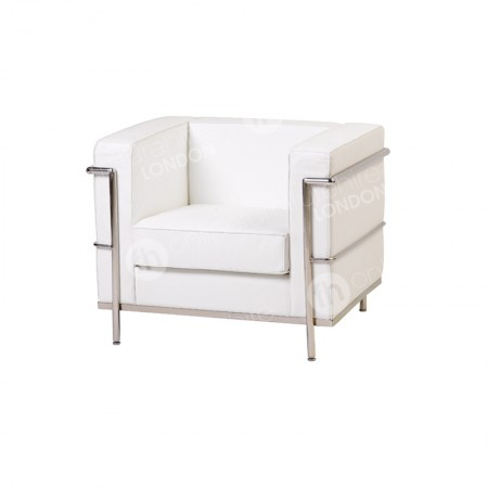 https://www.onlinefurniturehire.com/1 Seater Corbusier Sofa - White