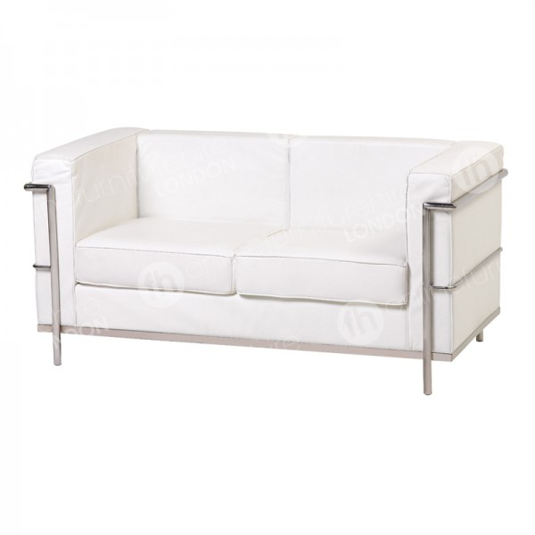 White Chrome Framed Leather Sofa