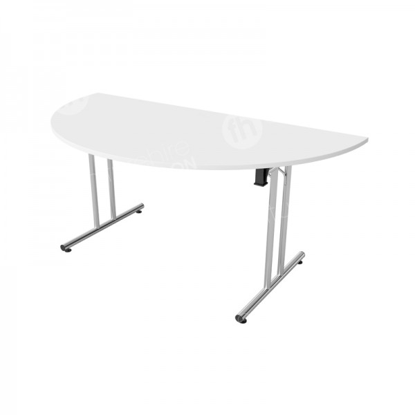White Modular Folding Table D-End
